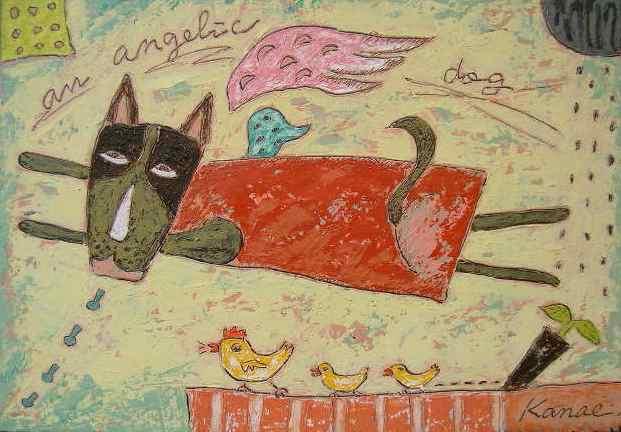 油絵絵画「ウシイヌ」