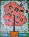 油絵絵画「家族の木」