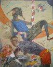 油絵絵画「踊り子と男」